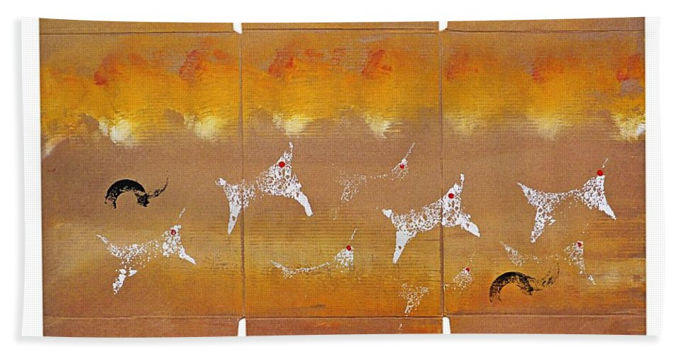 Native Hand Towel featuring the painting Fire Flight by Charles Stuart