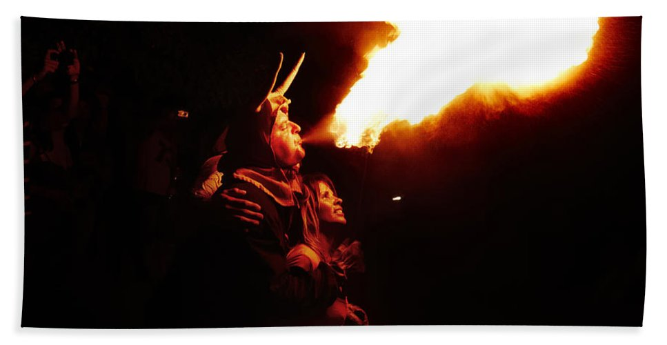 Fuego Bath Sheet featuring the photograph Fire Girl by Agusti Pardo Rossello