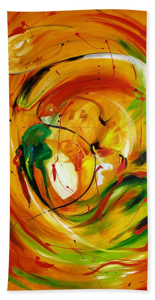 Abstract Hand Towel featuring the painting Fire In Love by Christy Lifosjoe