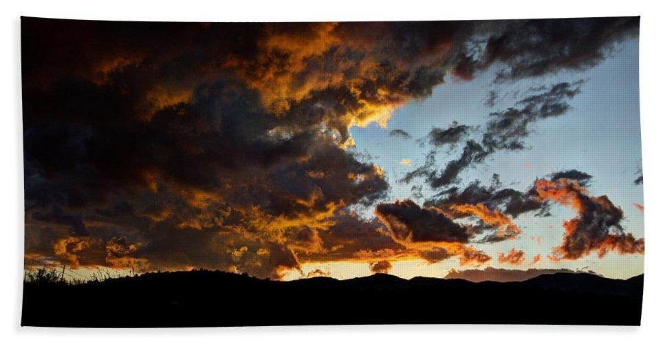 Sunset Bath Sheet featuring the photograph Fire In The Sky by Saija Lehtonen