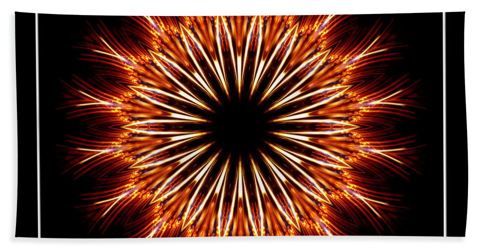Fire Bath Sheet featuring the photograph Fire Kaleidoscope Effect by Rose Santuci-Sofranko