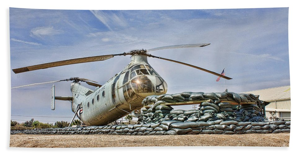 Piasecki H-21 Workhorse Shawnee Hand Towel featuring the photograph Firebase Charlie Romeo 2 by Tommy Anderson