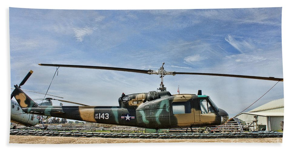 Bell Uh-1 Huey Hand Towel featuring the photograph Firebase Charlie Romeo by Tommy Anderson