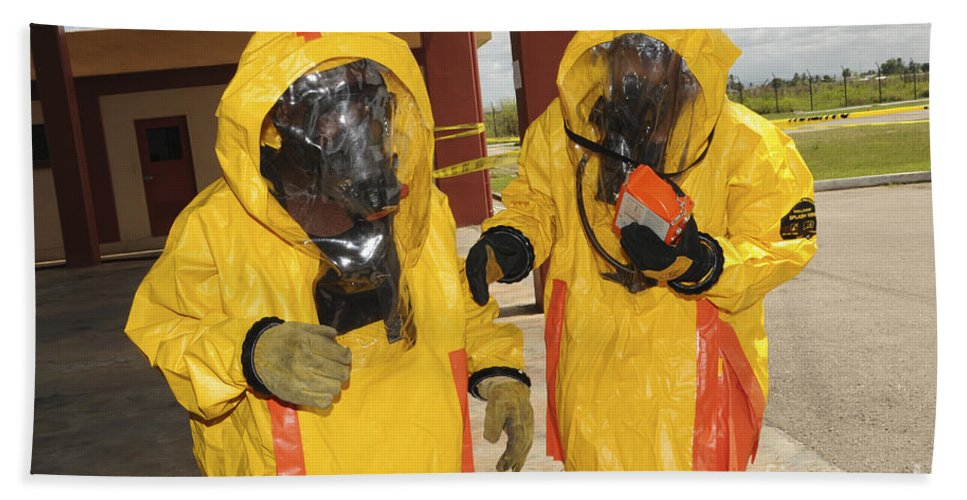 Firefighters Dressed In Hazmat Suits Hand Towel For Sale By Stocktrek Images