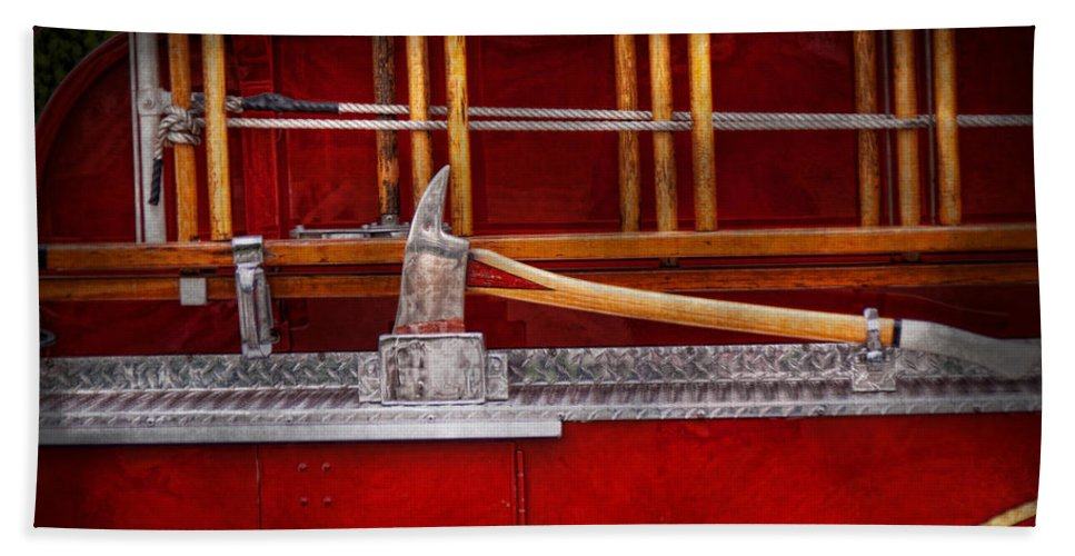 Hdr Hand Towel featuring the photograph Fireman - Nice Axe by Mike Savad