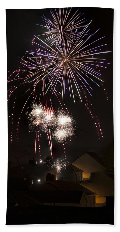 Fireworks Bath Sheet featuring the photograph Fireworks 1 by Steve Purnell