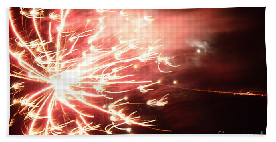 Fireworks Bath Sheet featuring the photograph Fireworks In Texas 2 by Donna Brown