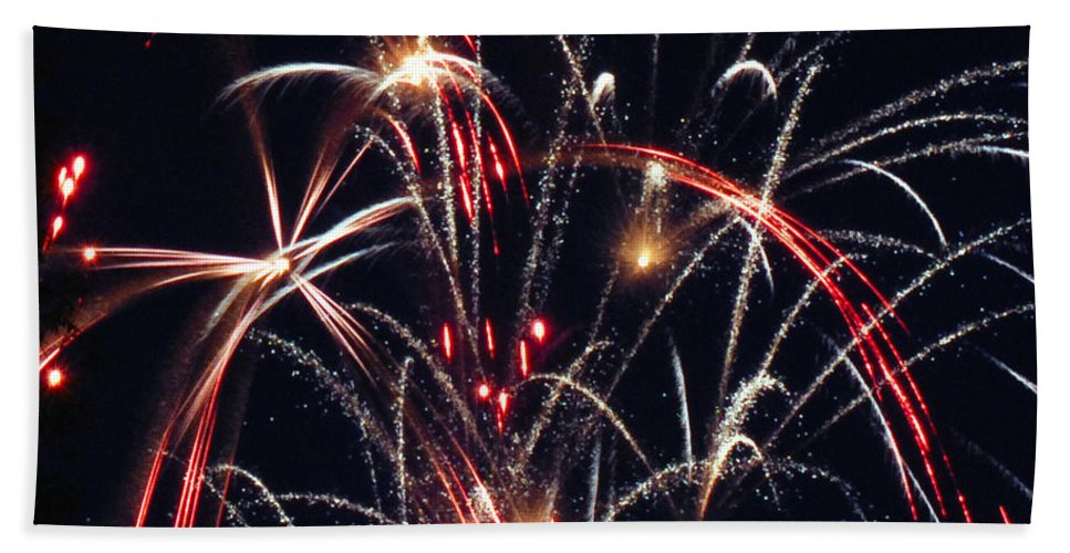 Fireworks Bath Sheet featuring the photograph Fireworks Two by Ronald Grogan