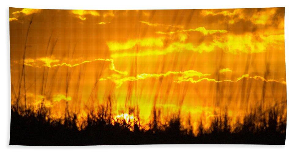 Sunset Bath Sheet featuring the photograph Firey Sunset by Shannon Harrington