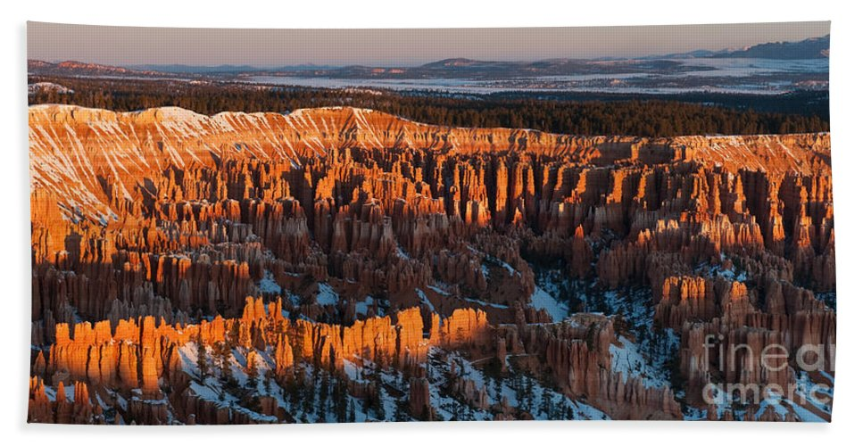 Bronstein Bath Sheet featuring the photograph First Light At Bryce Canyon by Sandra Bronstein