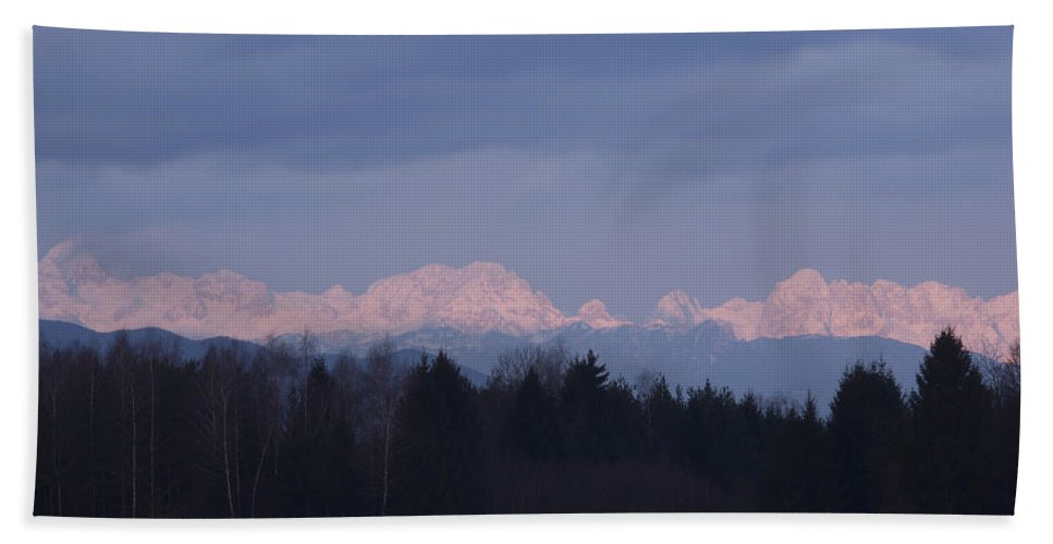 Sunrise Bath Sheet featuring the photograph First Mountain Snow by Ian Middleton