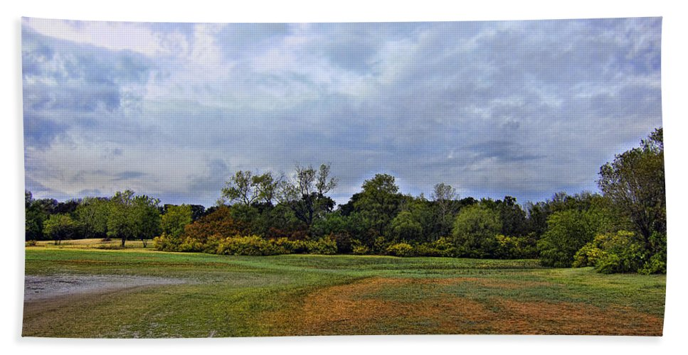 First Rain Of Fall-lewisville Lake Dfw Bath Sheet featuring the photograph First Rain Of Fall by Douglas Barnard
