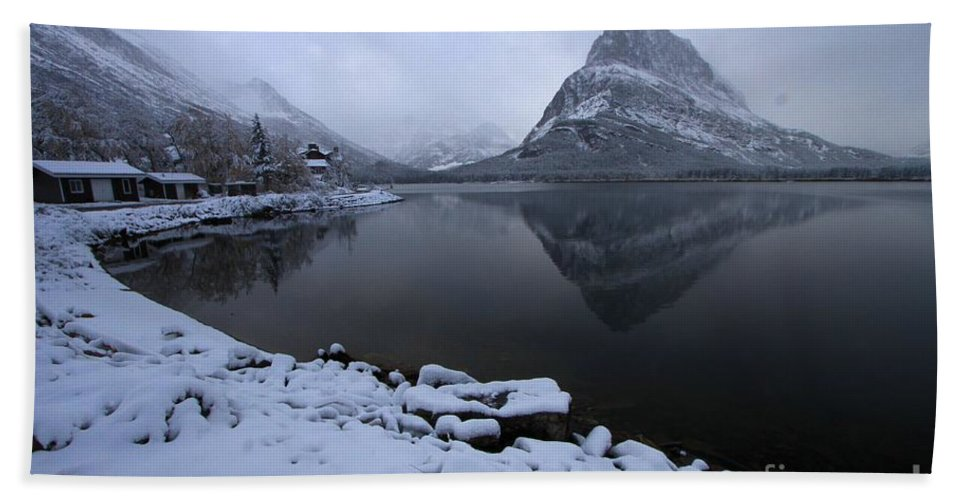 Grinnell Point Hand Towel featuring the photograph First Snow At Grinnell by Adam Jewell