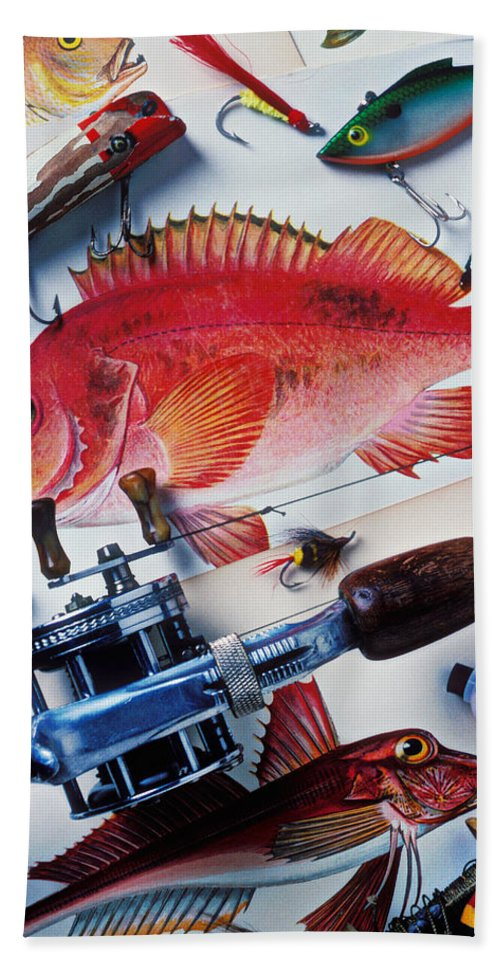 Fishing Lures Bobbers Color Colour Plastic Replica Interest Pass Bath Sheet featuring the photograph Fish Bookplates And Tackle by Garry Gay