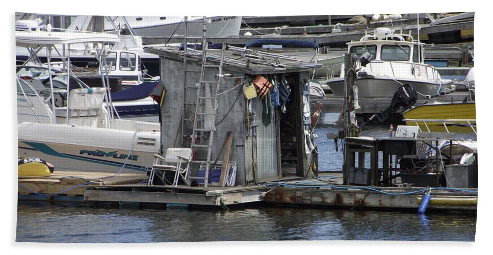 Inner Harbor Bath Sheet featuring the photograph Fish Shack by Michelle Welles
