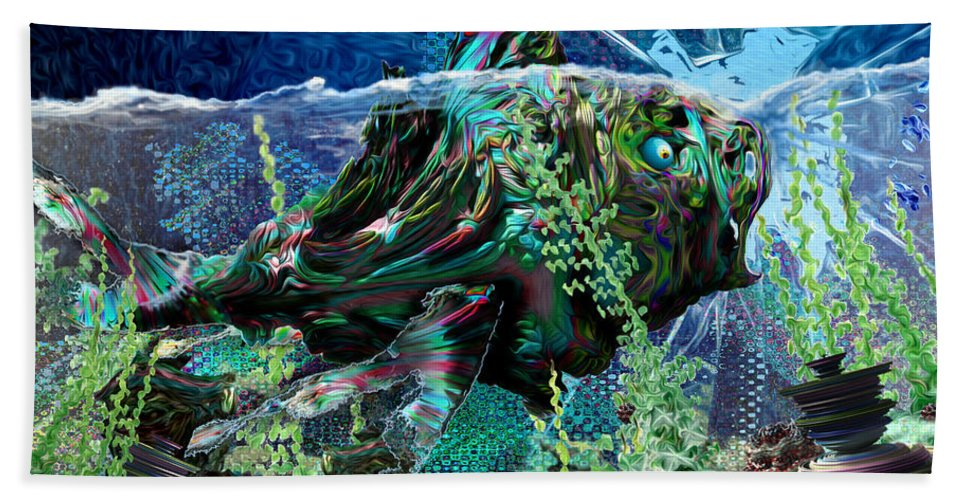 Fractal Bath Sheet featuring the digital art Fish Trouble by Adam Vance