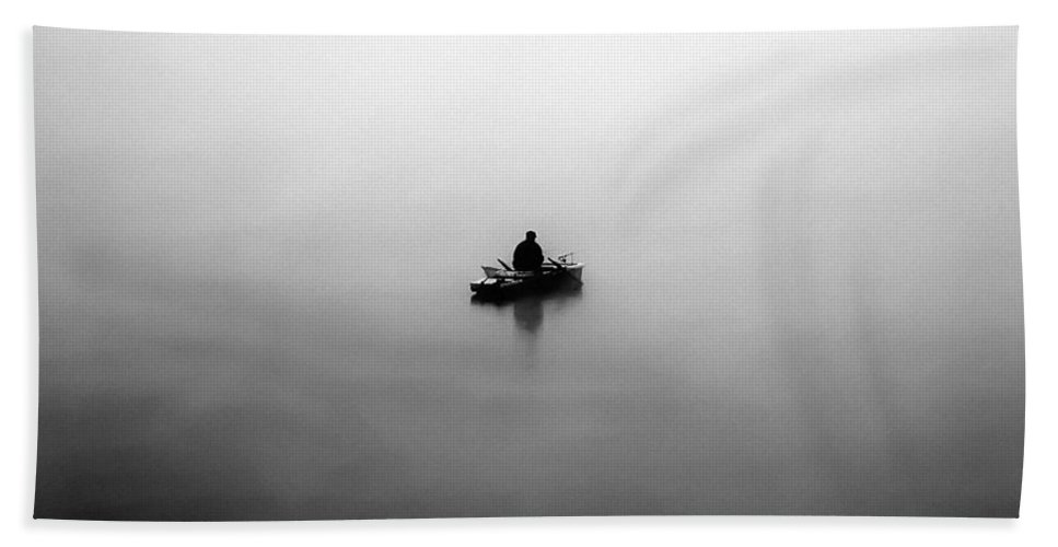 Fisher Bath Sheet featuring the photograph Fisherman In The Fog by Michal Boubin
