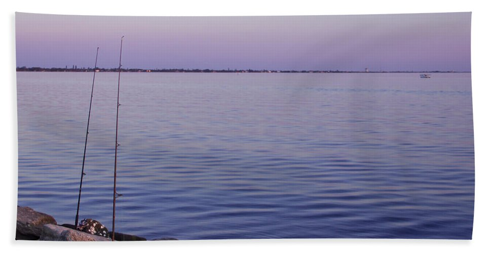 Fishing Hand Towel featuring the photograph Fishing At Dusk by Roger Wedegis