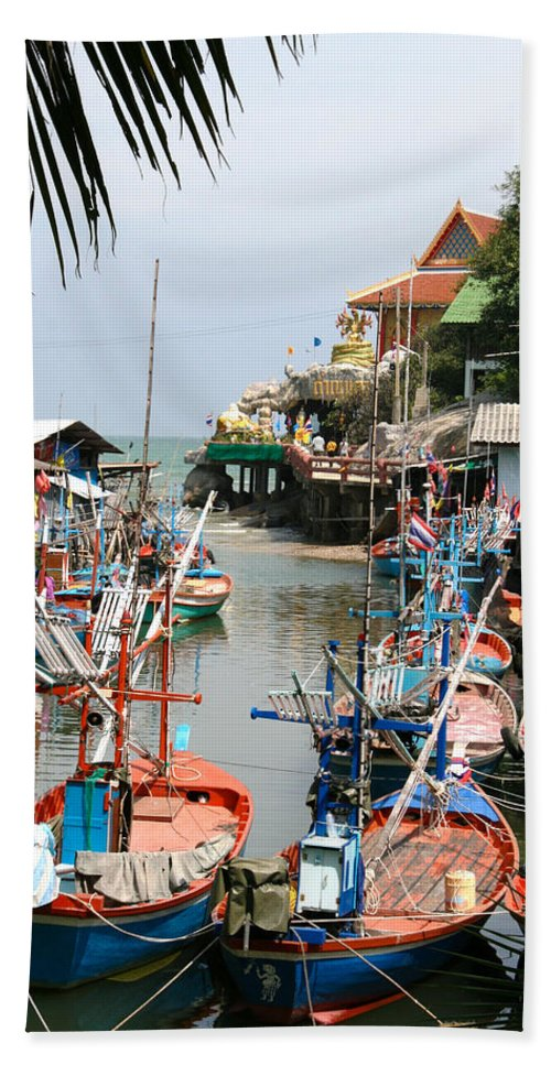 Temple Bath Sheet featuring the photograph Fishing Boats by Adrian Evans