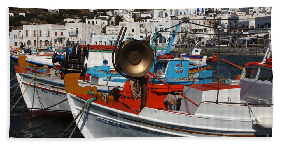 Greece Bath Sheet featuring the photograph Fishing Boats Mykonos by Bob Christopher