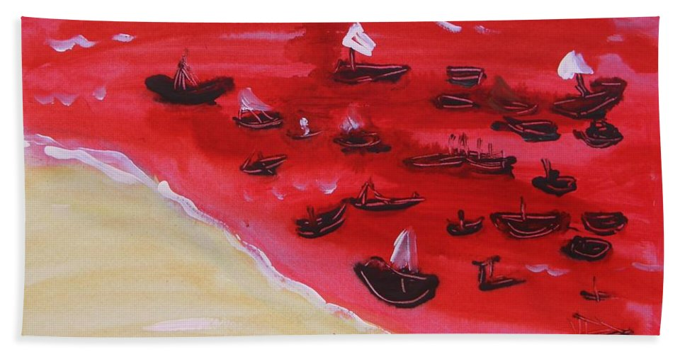 Red Sea Hand Towel featuring the painting Fishing Boats On A Red Sea by Mary Carol Williams