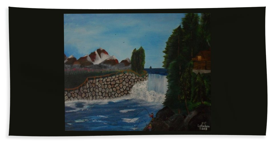 Fishing Bath Sheet featuring the painting Fishing By The Falls by Paul F Labarbera