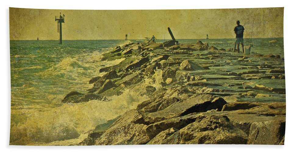 Jetty Hand Towel featuring the photograph Fishing The Jetty - Island Beach State Park  Nj by Mother Nature
