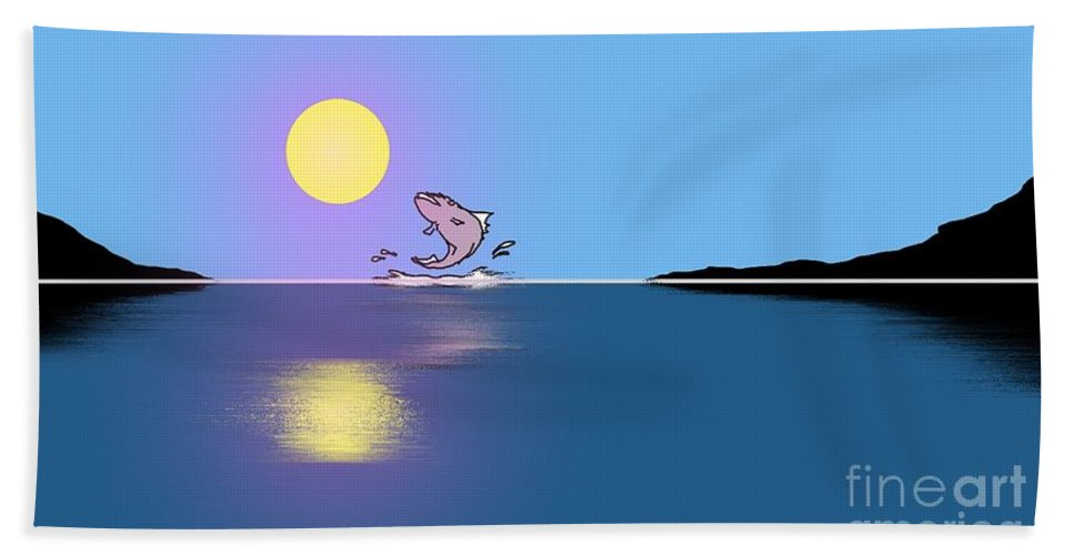 Fish Hand Towel featuring the painting Fishy Sunrise by George Pedro