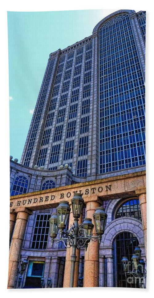 Julia Springer Bath Sheet featuring the photograph Five Hundred Boylston - Boston Architecture by Julia Springer