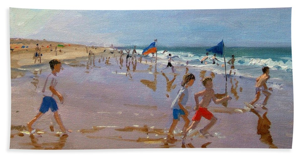 Seaside Bath Sheet featuring the painting Flags And Reflections by Andrew Macara
