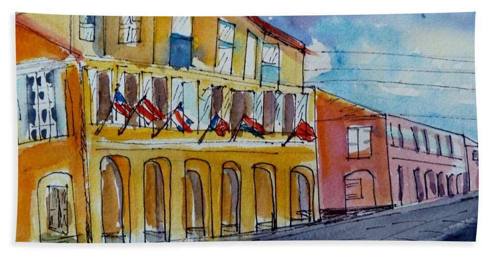 Buildings Bath Sheet featuring the painting Flags On The Buildings by Diane Elgin