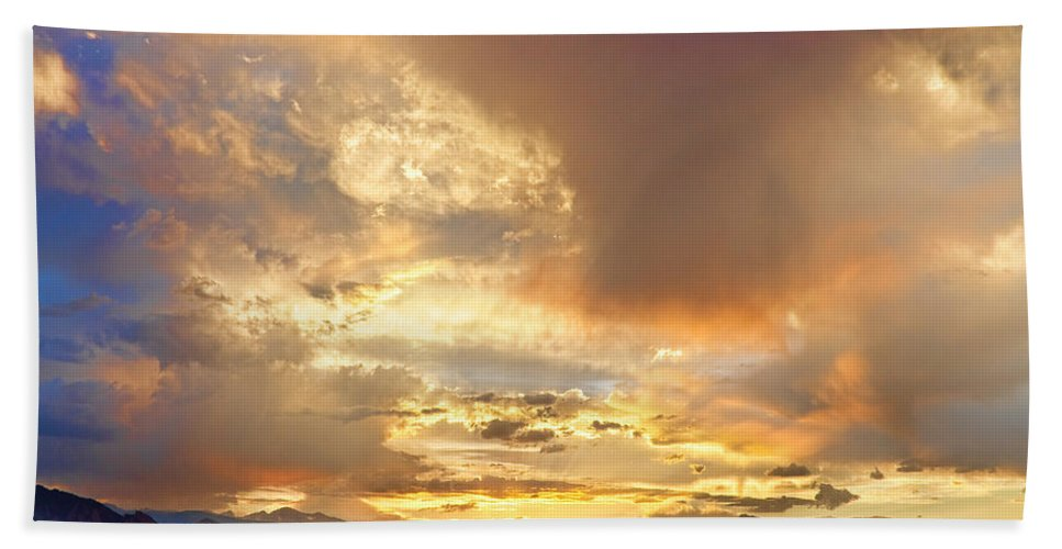 Flagstaff Fire Bath Sheet featuring the photograph Flagstaff Fire Sky Boulder Colorado by James BO Insogna