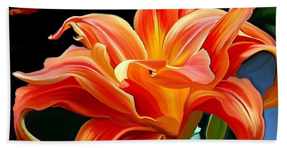 Flower Painting Hand Towel featuring the painting Flaming Flower by Patricia Griffin Brett