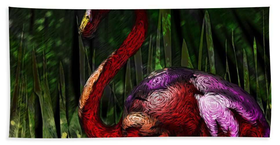 Flamingo Hand Towel featuring the painting Flamingo by Adam Vance