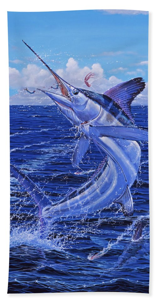 White Marlin Bath Sheet featuring the painting Flat Line by Carey Chen