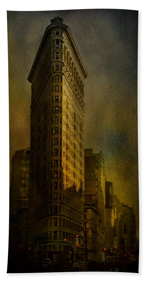 Flatiron Building Bath Sheet featuring the photograph Flatiron Building...my View..revised by Jeff Burgess
