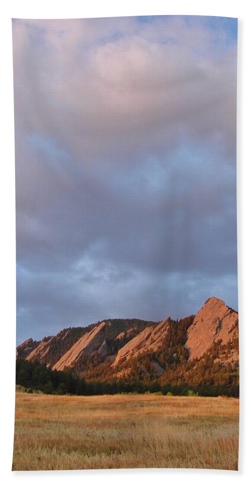Flatirons Hand Towel featuring the photograph Flatirons At Chautauqua In Early Morning by Margaret Bobb