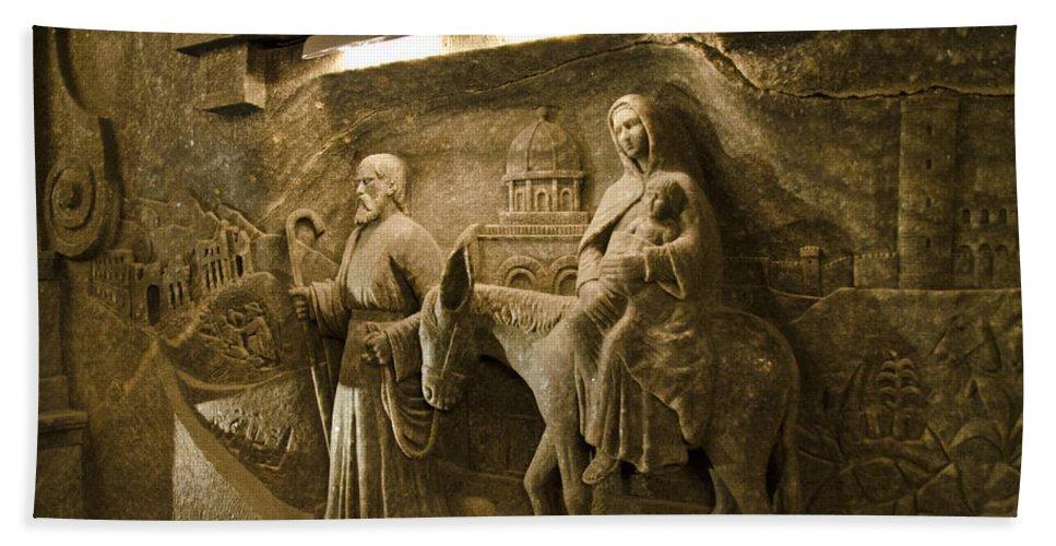 Wieliczka Salt Mine Hand Towel featuring the photograph Flight Into Egypt - Wieliczka Salt Mine by Jon Berghoff