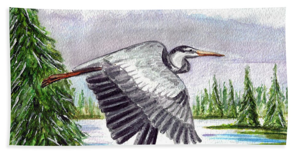 Heron In Flight Bath Sheet featuring the painting Flight Of Fantasy by Clara Sue Beym