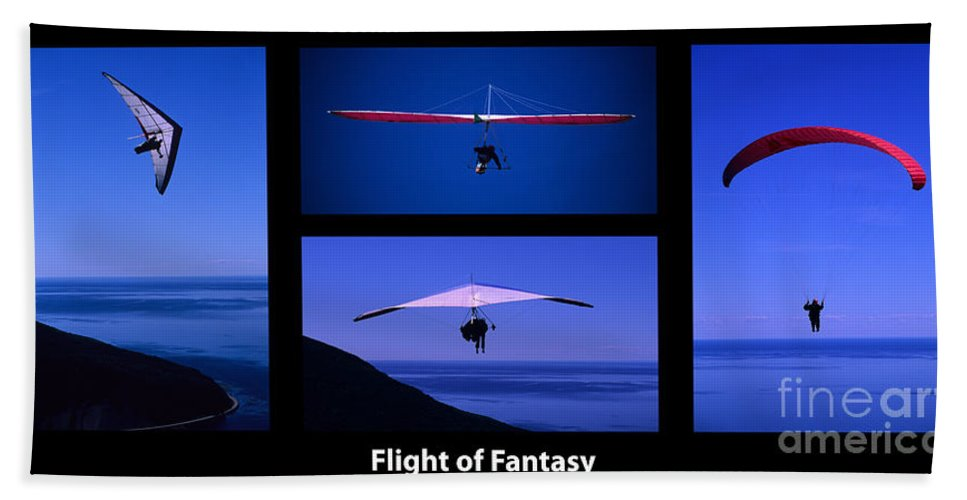 Para Sailing Bath Sheet featuring the photograph Flight Of Fantasy With Caption by Bob Christopher
