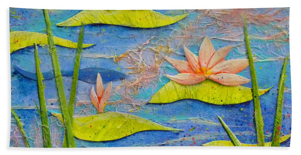 Water Lilies Bath Sheet featuring the painting Floating Lilies by Carla Parris