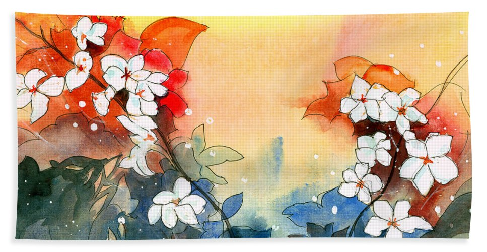 House Bath Sheet featuring the painting Floral Neklace by Anil Nene
