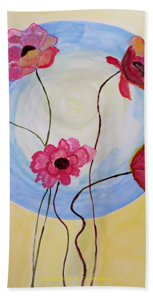 The Dream Bath Sheet featuring the painting Floral Orb by Sonali Gangane