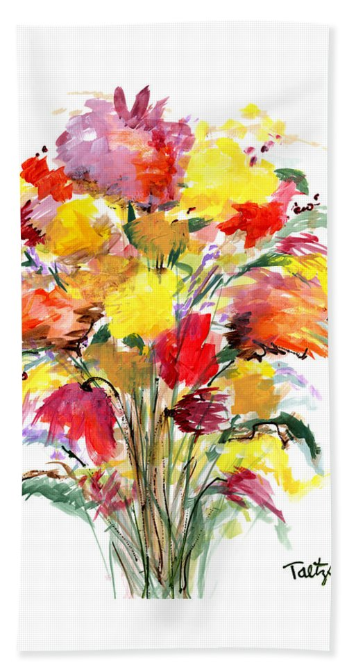 Flowers Bath Sheet featuring the painting Floral Seven by Lynne Taetzsch