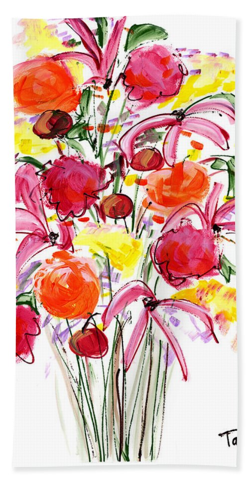 Flowers Bath Sheet featuring the painting Floral Thirteen by Lynne Taetzsch
