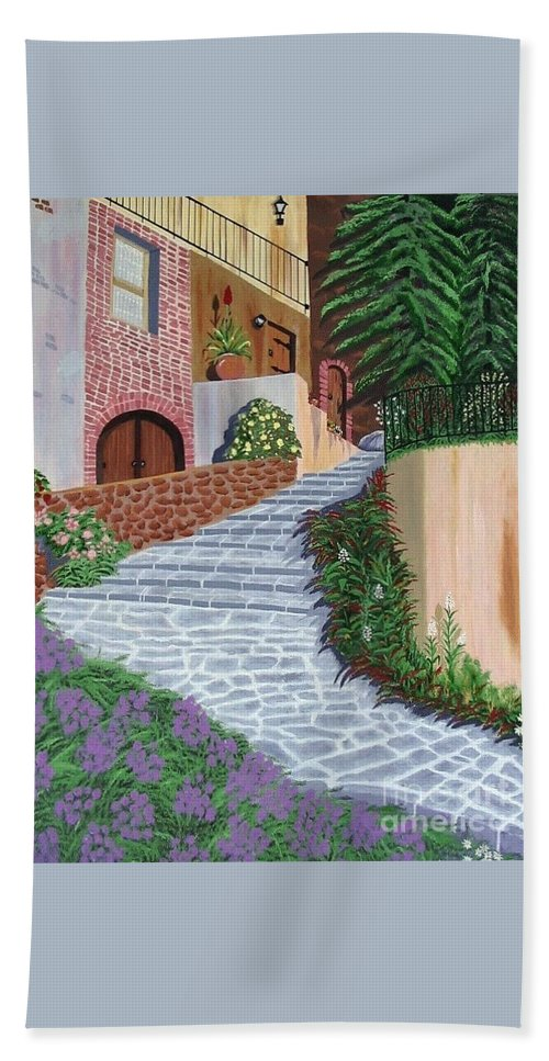 Florence Italy Apartments Bath Sheet featuring the painting Florence Italy Apartments by Don Monahan