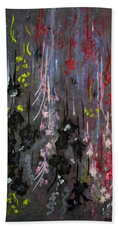Flowers Bath Sheet featuring the painting Flower Shower by Charles TheArtBaran