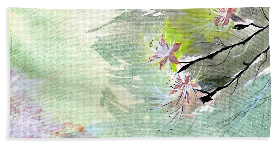 Floral Hand Towel featuring the painting Flowers 3 by Anil Nene