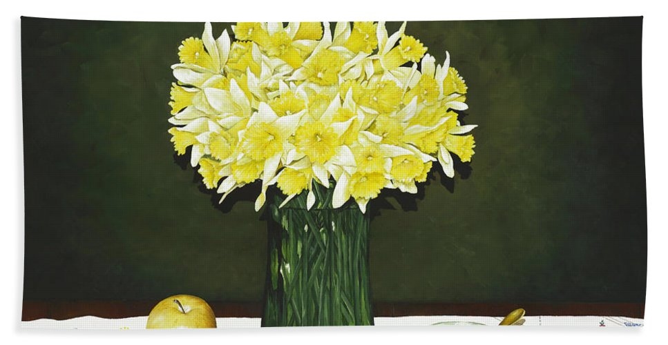Daffodil Paintings Bath Sheet featuring the painting Flowers For Mother by Mary Ann King