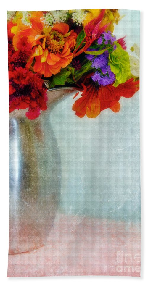 Flowers; Floral; Still Life; Pitcher; Metal; Fresh; Painterly; Textured; Beautiful; Bloom; Blossom; Bouquet; Delicate Bath Sheet featuring the photograph Flowers In Metal Pitcher by Jill Battaglia
